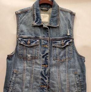 Abercrombie & Fitch Medium Wash Denim Vest